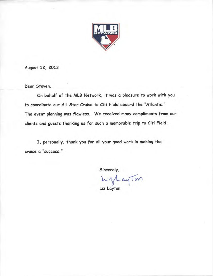 MLB All Star Letter to Yacht Events